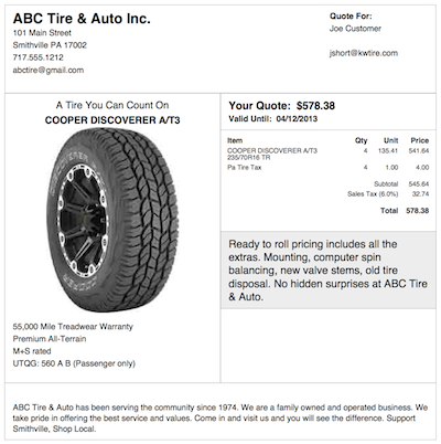 Tire Quotes Endearing K&w Tire